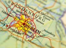 Mappa geografica di paese europeo Germania con la città di Berlino Fotografie Stock