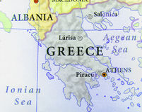 Mappa geografica di paese europeo Grecia con le città importanti immagine stock libera da diritti