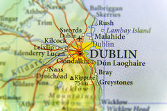 Mappa geografica di paese europeo Irlanda con la capitale di Dublino Immagini Stock