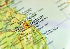 Mappa geografica di paese europeo Irlanda con la capitale di Dublino Fotografie Stock Libere da Diritti