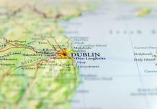 Mappa geografica di paese europeo Irlanda con la capitale di Dublino Fotografia Stock Libera da Diritti