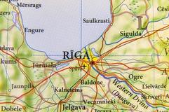 Mappa geografica di paese europeo Lettonia con la città Riga Fotografia Stock
