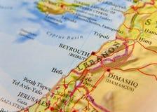 Mappa geografica di paese europeo Libano con le città importanti Fotografie Stock Libere da Diritti
