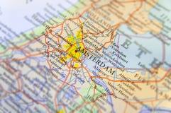 Mappa geografica di paese europeo Paesi Bassi con la capitale di Amsterdam fotografia stock libera da diritti