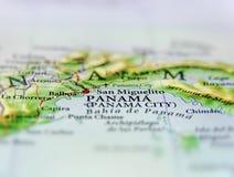 Mappa geografica di paese Panama e Panama City Fotografia Stock Libera da Diritti