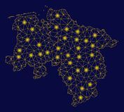Mappa gialla della terra di Mesh Wire Frame Lower Saxony con i punti del chiarore royalty illustrazione gratis
