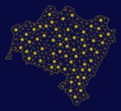 Mappa gialla di Mesh Carcass Lower Silesian Voivodeship con i punti istantanei illustrazione di stock