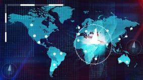 Mappa globale di Internet con le bussole, orologi, pezzi Fotografie Stock