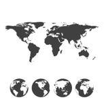 Mappa grigia del mondo con le icone del globo Immagini Stock Libere da Diritti