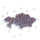 Mappa il Kazakistan di forma del gruppo della gente Immagine Stock Libera da Diritti