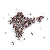 Mappa India di forma del gruppo della gente Fotografie Stock Libere da Diritti