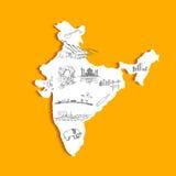 Mappa indiana Fotografia Stock Libera da Diritti