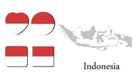 Mappa Indonesia della bandiera Immagine Stock