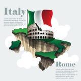 Mappa infographic del paese dell'Italia in 3d Fotografia Stock
