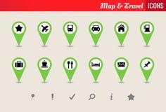 Mappa & insieme dell'icona di vettore di viaggio Fotografia Stock