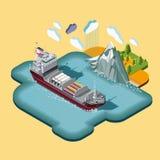Mappa isometrica, consegna di carico, logistica di spedizione del trasporto marittimo royalty illustrazione gratis
