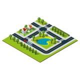 Mappa isometrica della città Fotografia Stock