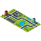 Mappa isometrica della città Immagini Stock Libere da Diritti