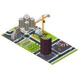 Mappa isometrica della città Costruzione dell'hotel Fotografia Stock