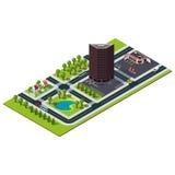 Mappa isometrica della città Costruzione della Banca dentro del centro Immagine Stock Libera da Diritti