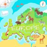 Mappa isometrica di Europa con la flora e la fauna Vettore Fotografia Stock