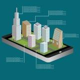 mappa isometrica di navigazione 3D di una cittadina sulla compressa o sullo Smart Phone Itinerario di GPS Illustrazione di vettor Fotografia Stock