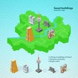 Mappa isometrica di Seoul Costruzioni famose di Seoul Immagini Stock Libere da Diritti