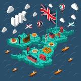 Mappa isometrica turistica della Gran Bretagna Immagini Stock Libere da Diritti