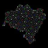 Mappa luminosa di Mesh Network Lower Silesian Voivodeship con i punti istantanei illustrazione di stock
