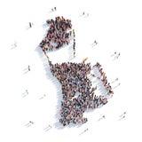 Mappa Macao di forma del gruppo della gente Fotografie Stock Libere da Diritti