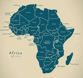 Mappa moderna - continente dell'Africa con le etichette del paese illustrazione di stock