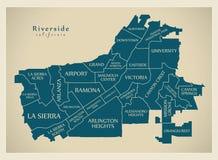 Mappa moderna della città - città di California della riva del fiume di U.S.A. con neig Fotografie Stock