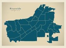 Mappa moderna della città - città di California della riva del fiume di U.S.A. con neig Fotografie Stock Libere da Diritti
