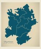 Mappa moderna della città - città di Charlotte North Carolina di U.S.A. con Fotografia Stock Libera da Diritti
