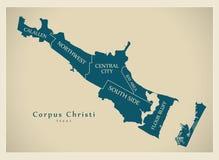 Mappa moderna della città - città di Christi Texas del corpus di U.S.A. con neig Fotografie Stock Libere da Diritti