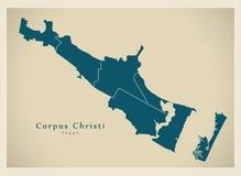 Mappa moderna della città - città di Christi Texas del corpus di U.S.A. con neig Fotografia Stock