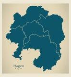 Mappa moderna della città - città di Hagen della Germania con le città DE Immagini Stock Libere da Diritti