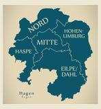 Mappa moderna della città - città di Hagen della Germania con le città ed i titoli Immagine Stock Libera da Diritti