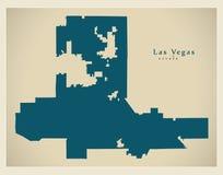 Mappa moderna della città - città di Las Vegas Nevada di U.S.A. Immagini Stock