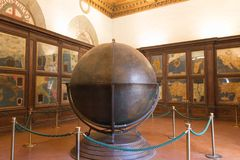 Mappa Mundi in the Hall of geographical maps in Palazzo Vecchio, Florence, Tuscany, Italy. stock photo