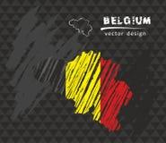 Mappa nazionale di vettore del Belgio con la bandiera del gesso di schizzo Illustrazione disegnata a mano del gesso di schizzo Fotografie Stock Libere da Diritti