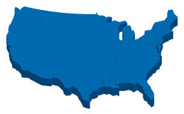 Mappa nera di U.S.A. con gli stati in 3-Dimension Immagine Stock Libera da Diritti