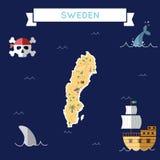 Mappa piana del tesoro della Svezia Immagini Stock Libere da Diritti