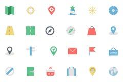 Mappa piana ed icone colorate navigazione 2 Immagini Stock Libere da Diritti