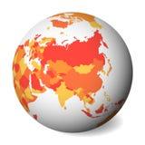 Mappa politica in bianco dell'Asia globo della terra 3D con la mappa arancio Illustrazione di vettore illustrazione di stock