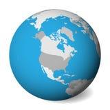 Mappa politica in bianco di Nord America globo della terra 3D con acqua blu e terre grige Illustrazione di vettore illustrazione di stock
