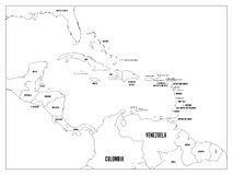 Mappa politica degli stati dei Caraibi e dell'America Centrale Confini neri del profilo con le etichette di nomi del Paese Nero P royalty illustrazione gratis