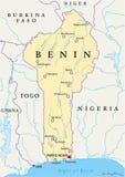 Mappa politica del Benin Fotografia Stock Libera da Diritti
