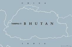 Mappa politica del Bhutan Fotografie Stock