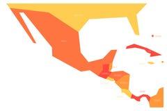 Mappa politica del Messico e di Amercia centrale Mappa piana schematica di vettore di Simlified in quattro tonalità dell'arancia illustrazione vettoriale
